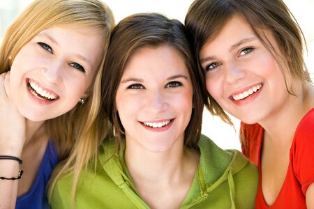 the faces: Three natural women Stock Photo