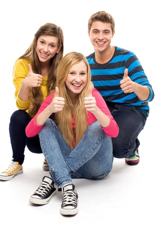 teenage girl happy: Friends with thumbs up