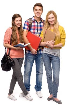 estudantes: Os estudantes segurando livros
