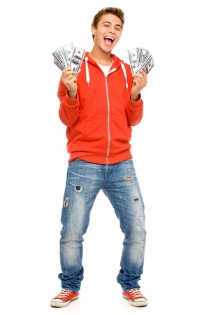 Young man holding money photo