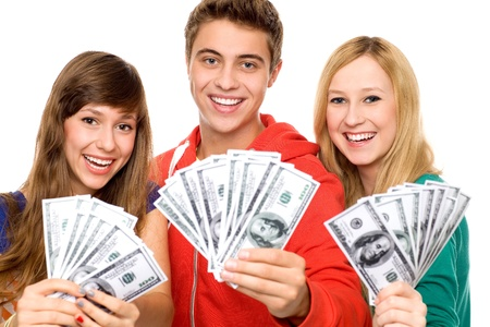 man holding money: Young people holding money