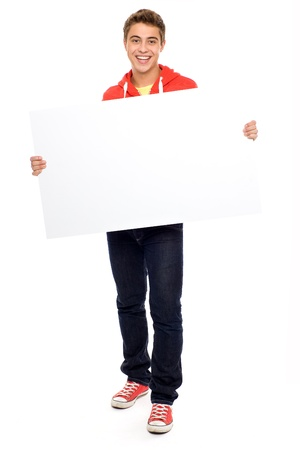 placard: Casual guy with blank placard