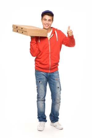 Pizza delivery man showing thumbs up photo