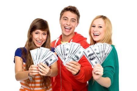 돈을 들고 젊은 사람들 스톡 콘텐츠