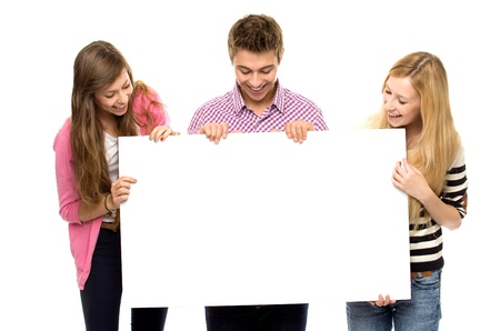 ad sign: Friends holding blank poster