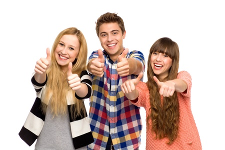 Young people with thumbs up photo