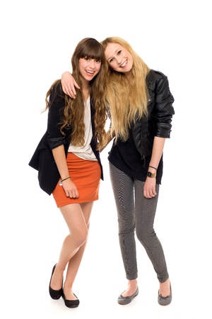 friends happy: Two fashion women Stock Photo
