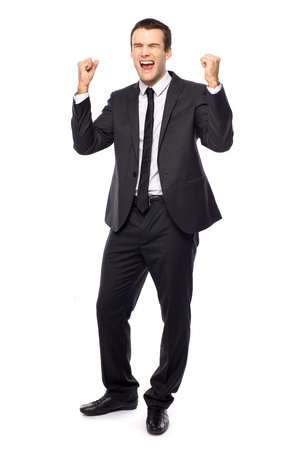 enthusiasm: Businessman clenching fists