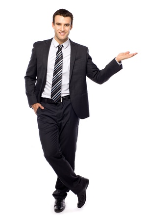 businessman standing: Businessman presenting something Stock Photo