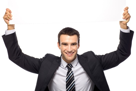 arms above head: Businessman holding blank sign above his head Stock Photo
