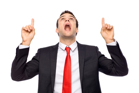 man pointing up: Businessman pointing up Stock Photo