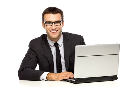 Businessman with laptop photo