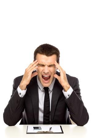 male headache: Empresario bajo estr�s