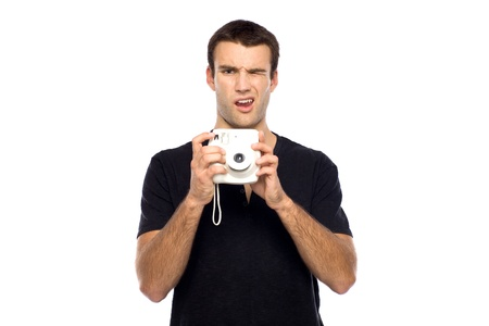 Man with instant camera Stock Photo - 10944339