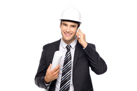 Architect using mobile phone Stock Photo - 10982286
