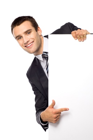 happy businessman: Businessman peeping from behind the blank board