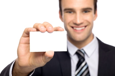 Businessman showing his business card Stock Photo - 10982284
