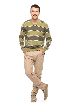 young adult men: Casual man standing