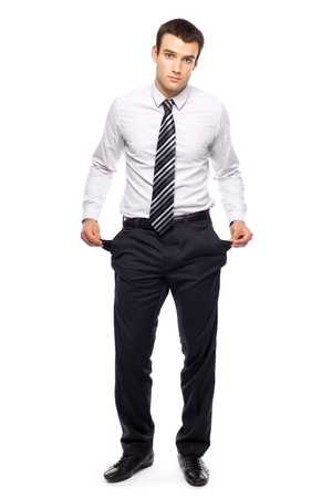 worried executive: Businessman with empty pockets Stock Photo