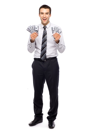 toothy smile: Young businessman holding money