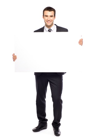a placard: Businessman holding blank poster Stock Photo
