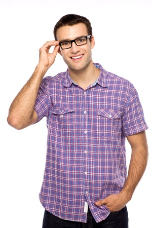 man with glasses: Hombre joven con gafas