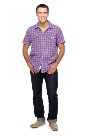 smiling man: Casual guy standing