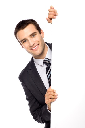 Businessman holding blank poster photo
