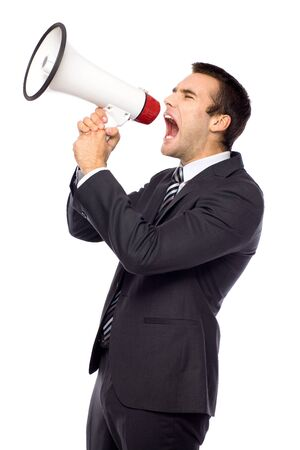 Businessman with megaphone Stock Photo - 11065190
