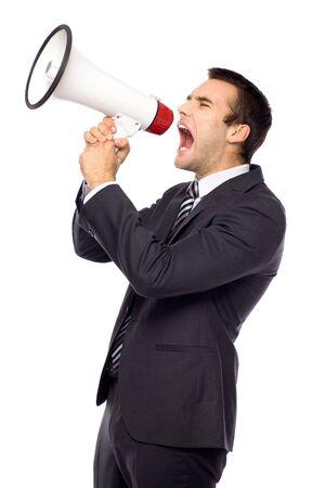 Businessman with megaphone Stock Photo - 11065190