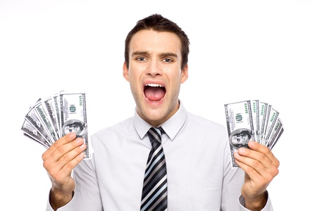 Man holding dollar bills and screaming Stock Photo - 11065198