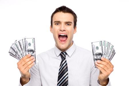 Man holding dollar bills and screaming Stock Photo - 11065198