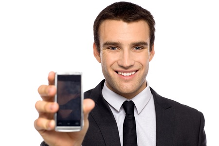 Businessman showing his mobile phone Stock Photo - 11065199