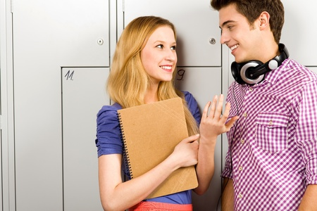 Students Standing by School Lockers Stock Photo - 11195138