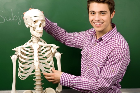 Student with skeleton photo