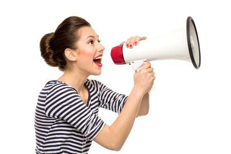 hombre megafono: Atractiva mujer con meg�fono