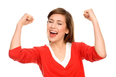 excited: Excited woman with arms raised Stock Photo