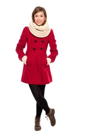 mujer cuerpo completo: Hermosa mujer en abrigo de invierno