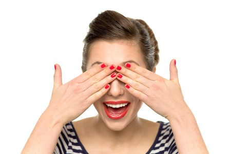 eye red: Woman covering her eyes