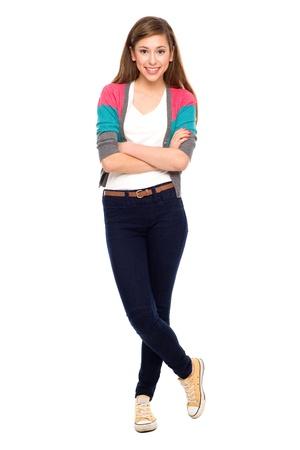 cuerpo completo: Adolescente con los brazos cruzados Foto de archivo