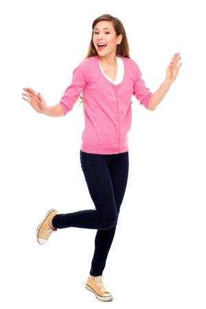 Excited teenage girl photo