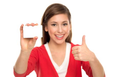 Woman holding blank card  photo