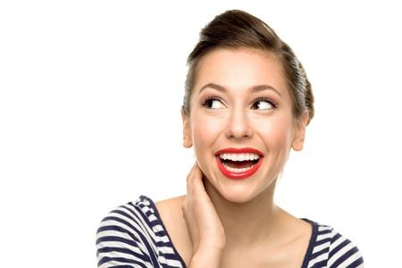 femme regarde en haut: Attractive femme levant les yeux Banque d'images