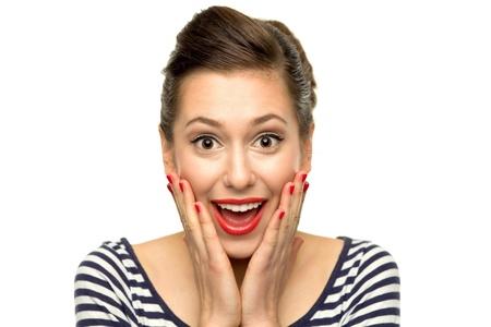 expresiones faciales: Mujer sorprendida j�venes Foto de archivo