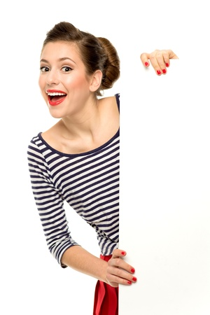 pin stripe: Attractive young woman holding blank poster