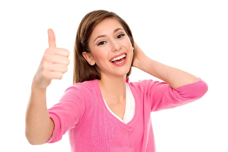 winning woman: Young woman showing thumbs up