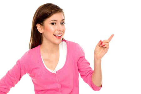 Young woman pointing finger Stock Photo