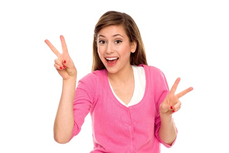 victory sign: Girl showing peace sign