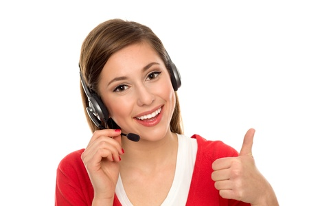 operators: Happy woman with telephone headset