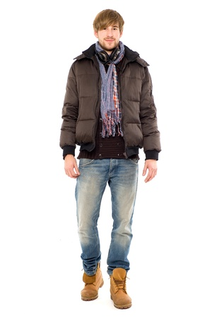 full body shot: Young man in winter clothing